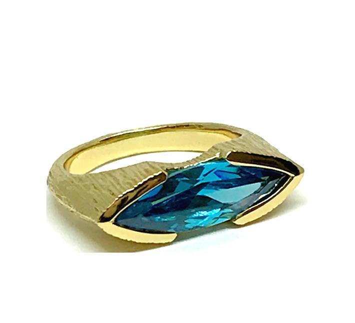 Marquis Shaped Aqua Crystal Ring: Gold Vermeil (RG784AQ)