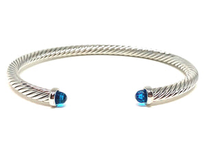Thin Cable Bracelet with Crystal Endcap: Silver: Blue Crystal (BS4070BL) Also Gold Fashion Bracelet athenadesigns Silver-BS4070BL