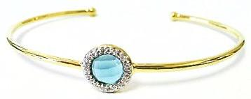 Bangle Bracelet: 10mm Blue Quartz with Crystal Halo in Gold - Addt'l Finishes (BNG4675BQ)