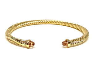 Thin Cable Bracelet with Crystal Endcap:Gold: Citrine Crystal (BG4070CT):Also Silver Fashion Bracelet athenadesigns Gold-BG4070CT