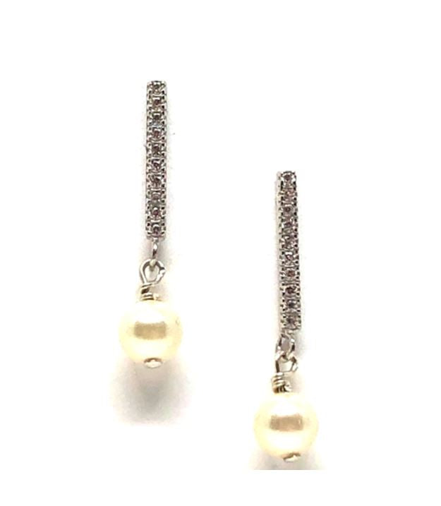 CZ Bar with Pearl Earring: Sterling Silver (ESP453W) Earrings athenadesigns Default Title