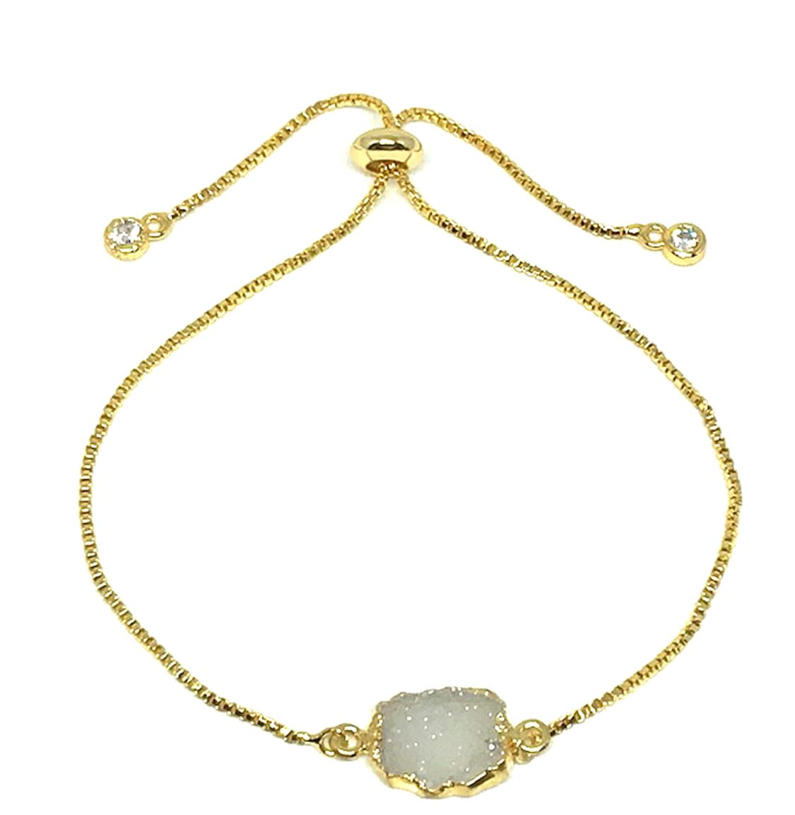 Electroform Stone Pull Bracelet: White Druzy (PBT748DZ) Also on Gunmetal Chain Bracelet athenadesigns Gold