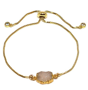 Electroform Stone Pull Chain: Pink Druzy (PBXT748DZP) Also on Gold Chain Bracelet athenadesigns Gold