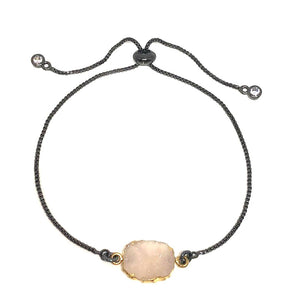 Electroform Stone Pull Chain: Pink Druzy (PBXT748DZP) Also on Gold Chain Bracelet athenadesigns Gunmetal