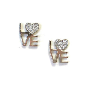 Love Crystal Heart Stud: Sterling Silver (EP5LUV) SALE athenadesigns