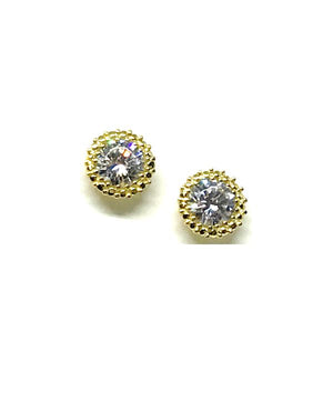 Stud Earring: Round CZ Rose Gold Fill: Also Gold(EGP4656C) Earrings athenadesigns Gold - EGP4656C