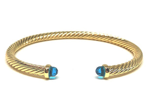 Thin Cable Bracelet with Crystal Endcap: Silver: Blue Crystal (BS4070BL) Also Gold Fashion Bracelet athenadesigns Gold-BG4070BL