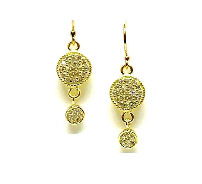Micropave Round Drop Earrings: Gold Vermeil (EG465) SALE athenadesigns Gold - EG465