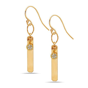 Vertical Bar with Crystal Charm Earrings: Gold Fill (EG4085)