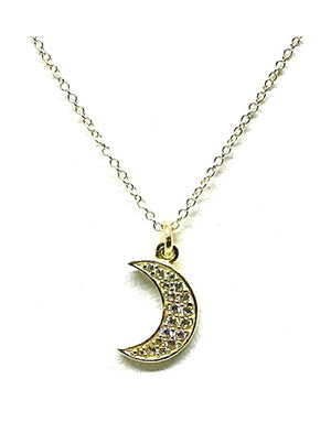Small Moon Pave Charm Necklace: Gold Vermeil (NCG5MN/S) SALE athenadesigns Default Title