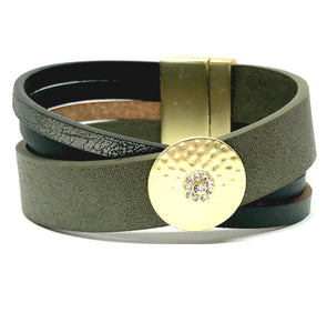 Leather Magnetic Closure Bracelet: Green (BML0465GR) Fashion Bracelet athenadesigns Default Title