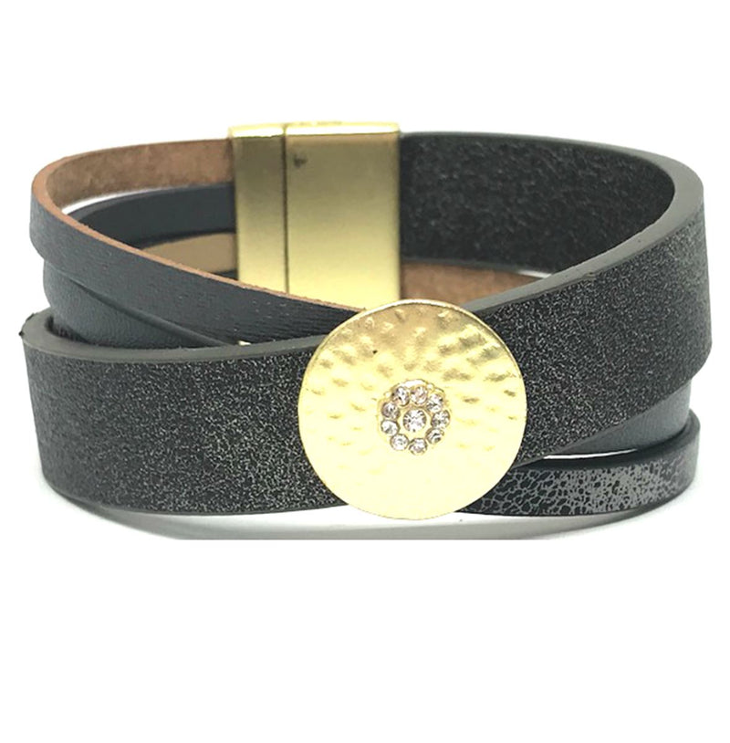 Leather Magnetic Closure Bracelet: Grey (BML0465GY) Fashion Bracelet athenadesigns Default Title
