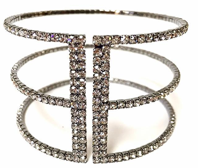 Crystal Cuff Bracelet Gunmetal Finish - 3 Row Fashion Bracelet Athena Designs
