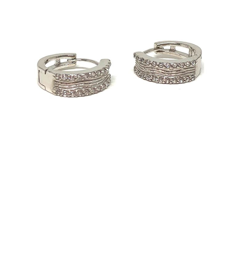 Brushed Huggie with Crystals: Sterling Silver (ESH445) SALE athenadesigns