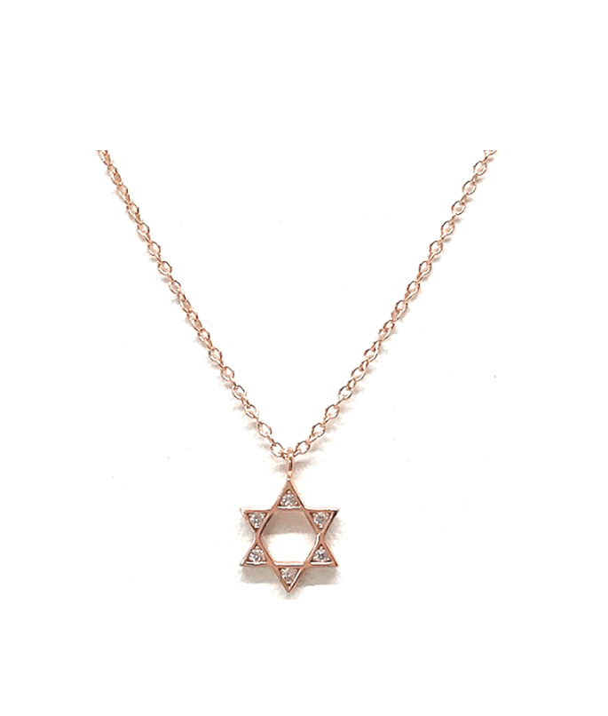 Crystal Charm Necklace: Star of David:Gold Also Rose Gold & Sterling(NCGP/JSTR)
