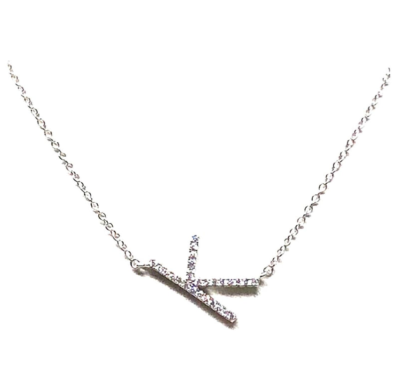 Initial Pave Necklaces: Letters J-L: Sterling Silver & Gold Vermeil (NCH45K) Necklaces athenadesigns Silver K