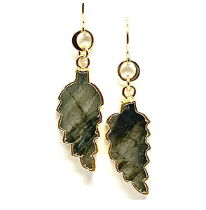 Electroformed Leaf Earrings: Labradorite (EG79LD) Earrings athenadesigns Default Title
