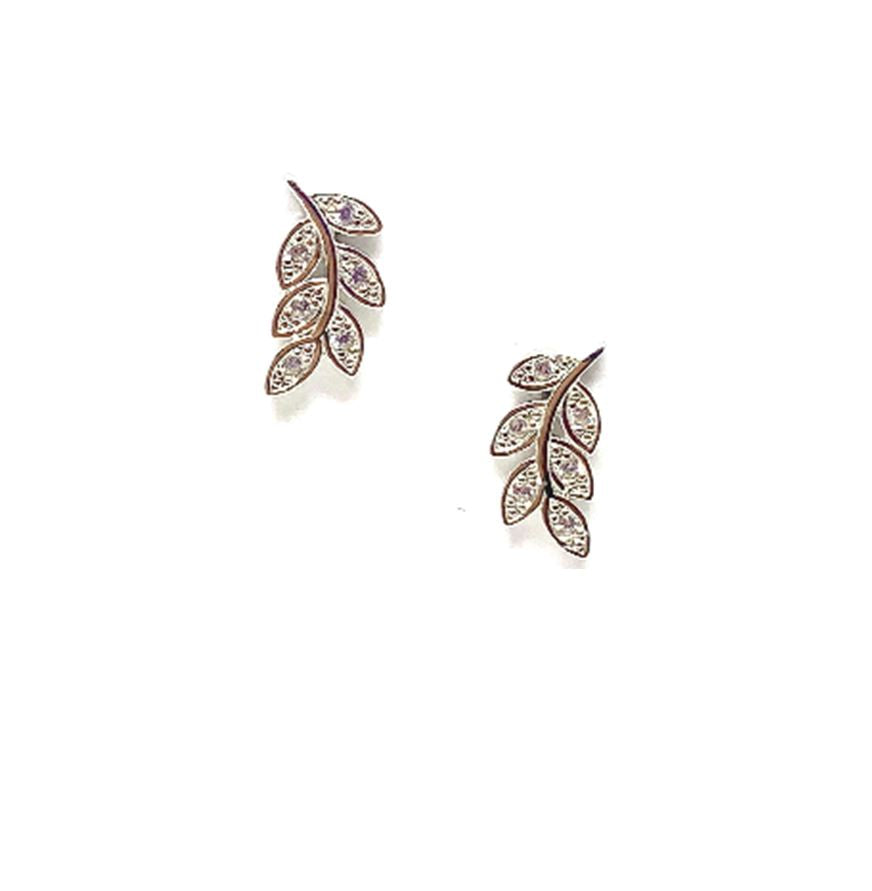 Pave Leaf Stud: Sterling Silver with Crystal (EP45LF) Earrings athenadesigns