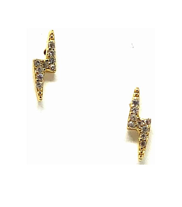 Lightning Bolt Stud: Gold Vermeil; Also Rose Gold Vermeil(EGP45LTN) Earrings athenadesigns Gold Vermeil:EGP45LTN