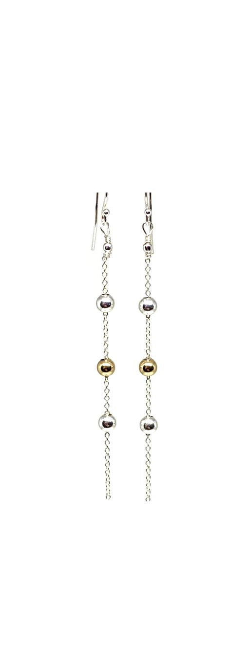 3 Bead Dangle Earring: Sterling Silver: (ECS46GS) Earrings athenadesigns Default Title