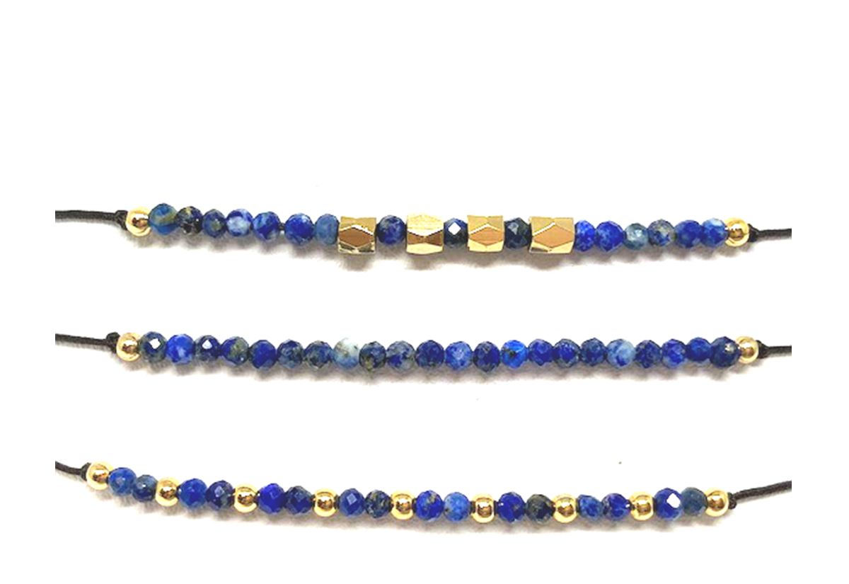 String Pull Bracelet with Semi Precious Stones: Set of 3: Sapphire (BGMT704SB) Fashion Bracelet athenadesigns Default Title