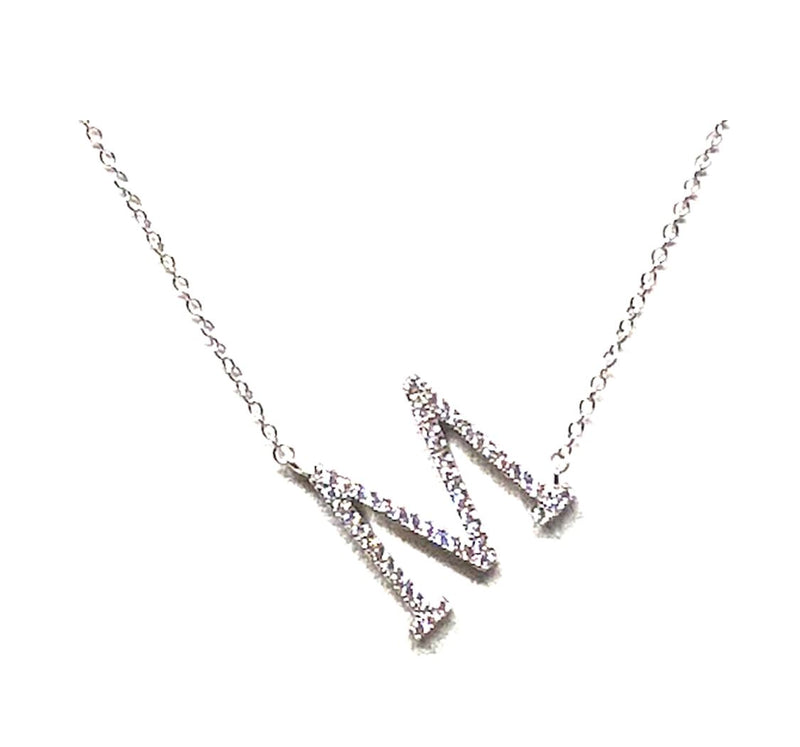 Initial Pave Necklaces: Letters M-R: Sterling Silver & Gold Vermeil (NCH45M) Necklaces athenadesigns Silver M