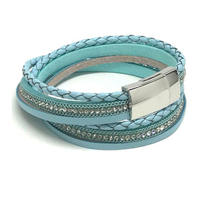 Crystal Wrap Bracelet with Magnetic Closure: Blue (BWM505B) Fashion Bracelet athenadesigns Default Title