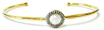 Bangle Bracelet: 10mm Moonstone with Crystal Halo in Gold - Addt'l Finishes (BNG4675MN)