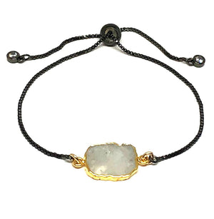 Electroform Stone Pull Bracelet: Moonstone (PBXT748MN) Also on Gold Chain Bracelet athenadesigns Gunmetal