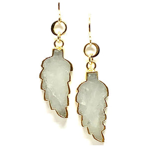 Electroformed Leaf Earrings: Moon Stone (EG79MN) Earrings athenadesigns Default Title
