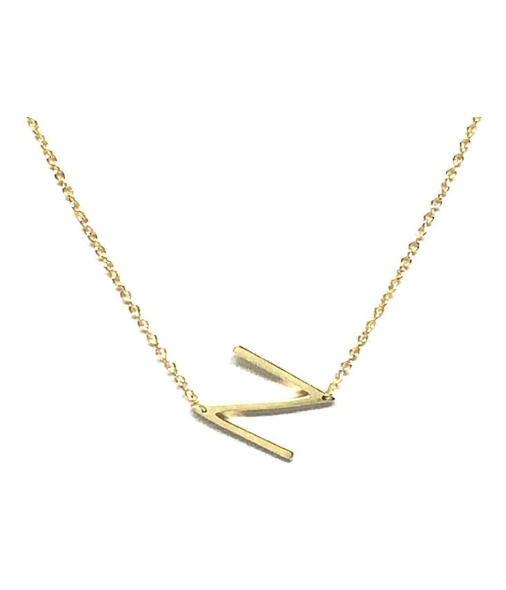 Initial Necklaces: Letters M-R: Sterling Silver & Gold Vermeil (NGCH40N) Necklaces athenadesigns Gold N