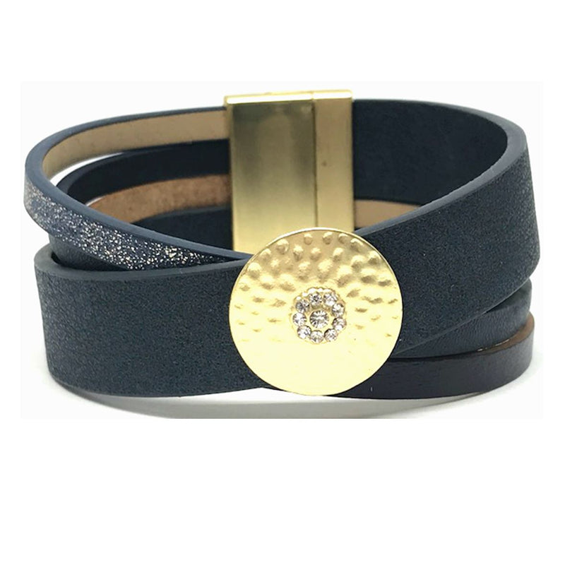 Leather Magnetic Closure Bracelet: Navy (BML0465NY) Fashion Bracelet athenadesigns Default Title