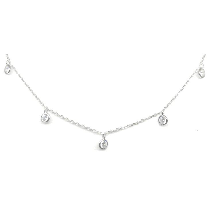 Crystal Chain Choker: Sterling Silver (NCH5460)