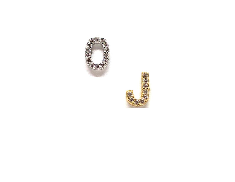 Initial Pave Studs: Letters J-L: Sterling Silver & Gold Vermeil (EGP45L)Price Per Letter Earrings athenadesigns Silver K