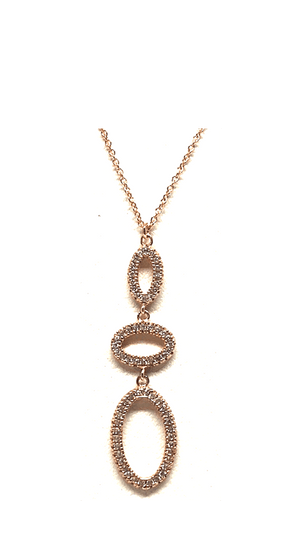 Crystal Drop Necklace: Ovals: Sterling Silver (NCP4558) Additional Finishes Necklaces athenadesigns Rose Gold- NRGCP4558