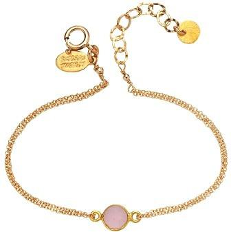 8mm Bezel Set Rose Quartz Bracelet Gold Fill: Available in Sterling (BCG2/760PK)