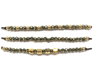 String Pull Bracelet with Semi Precious Stones: Set of 3: Pyrite (BGMT709PY) Fashion Bracelet athenadesigns Default Title