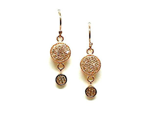 Micropave Round Drop Earrings: Gold Vermeil (EG465) SALE athenadesigns Rose Gold - ERG465