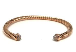 Thin Cable Bracelet with Pave Crystal Endcap: Rose Gold (BRG4050C):Also: Gold Fashion Bracelet athenadesigns Rose Gold:BRG4050C