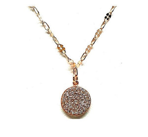 Marcasite Collection Necklace: Round Disc: Rose Gold Also: Oxidized (NCRG4605) SALE athenadesigns Finish: Rose Gold (NCRG4605)