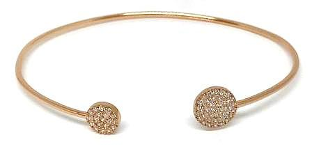 Micropave Round End Open Cuff: Rose Gold Vermeil: Also Available in Gold Vermeil (BRGN4655)