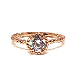 8mm Round CZ Ring: Rose Gold Vermeil (RRG4656/_) Available in Sizes 6-8 SALE athenadesigns 6 Rose Gold