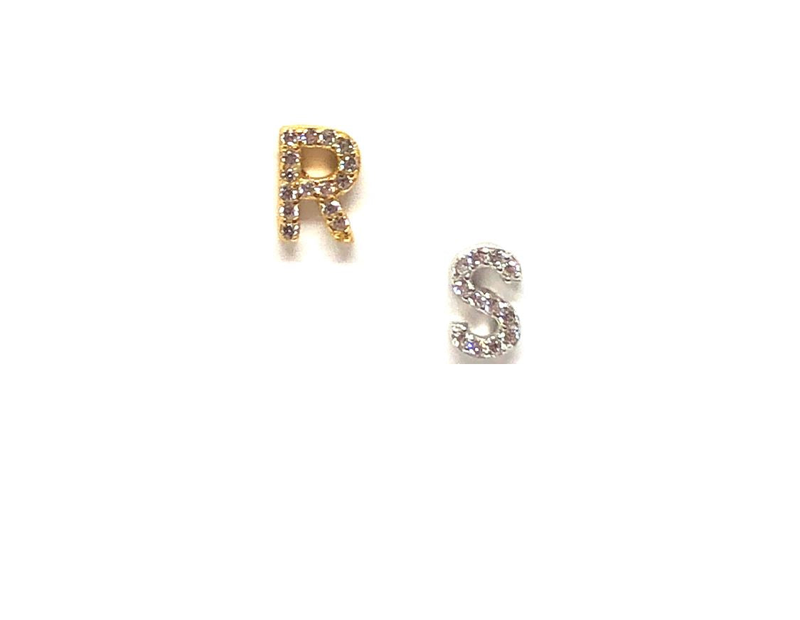 Initial Pave Studs: Letters S-Z: Sterling Silver & Gold Vermeil (EGP45T)Price per Letter Earrings athenadesigns Silver S