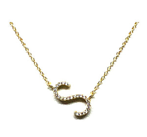 Initial Pave Necklaces: Letters S-Z: Sterling Silver & Gold Vermeill (NGCH45S) Necklaces athenadesigns Gold S
