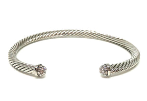 Thin Cable Bracelet with Pave Crystal Endcap: Silver (BS4050C) Fashion Bracelet athenadesigns Default Title