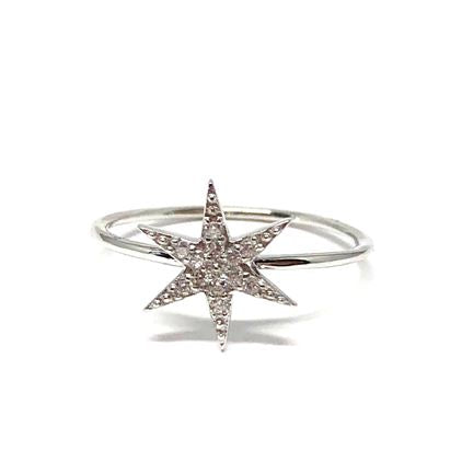 Micropave Star Ring: Sterling Silver (RS45STR/_) Available in Sizes 6-8 SALE athenadesigns Size 6- RS45STR/6