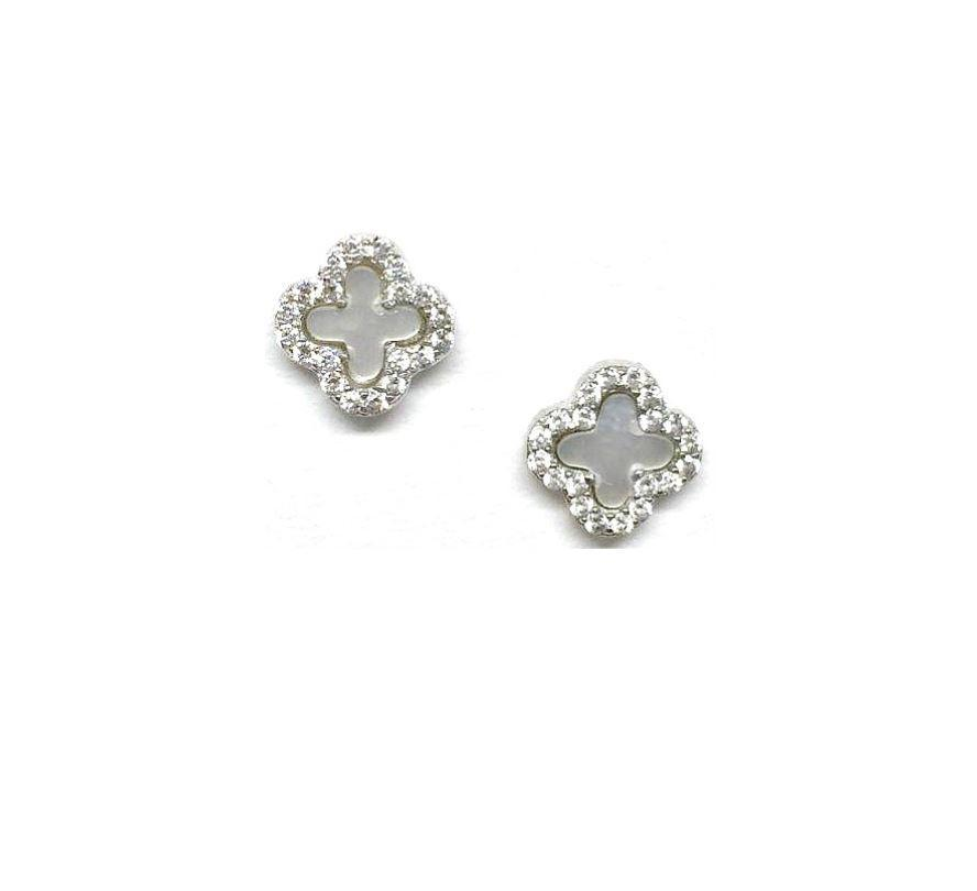 Mother of Pearl Stud Earrings athenadesigns Small Clover Sterling Silver (EP35MOPS)