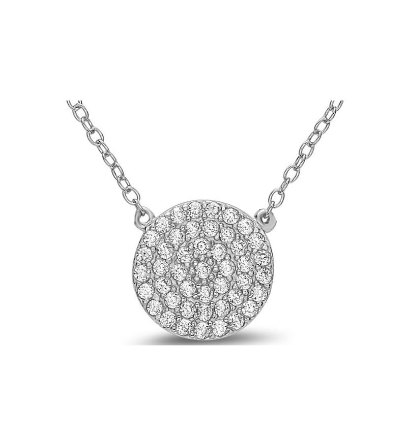 Crystal Pave: Disk Charm in Sterling Silver Necklace (NCS4665) Necklaces athenadesigns Sterling: NCS4665