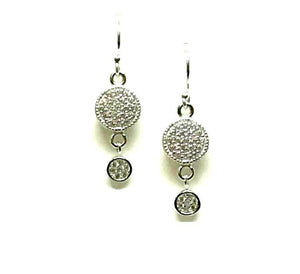 Micropave Round Drop Earrings: Sterling Silver (ES465) SALE athenadesigns Default Title