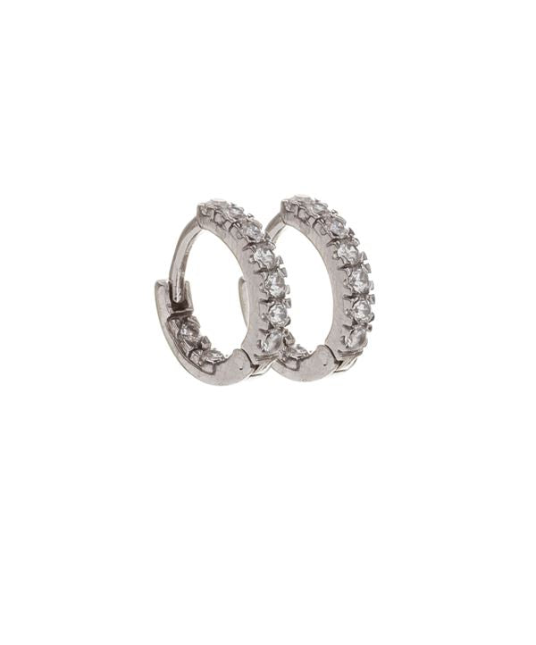 Micro Pave Earring: Huggies Silver (EH455) Earrings athenadesigns Silver